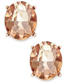 Charter Club Rose Gold-Tone Pink Crystal Stud Earrings, Only at Macy's