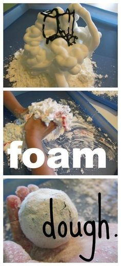 Combine shaving cream and corn starch to make foam dough. | 37 Activities Under $10 That Will Keep Your Kids Busy All Winter