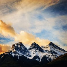 """""""Faith"""", """"Charity"""" and """"Hope"""". The three sisters in the traditional language of the Nakoda.  #adidasoutdoor #canada #canmore #alberta #faith #charity #hope #livewithoutlimits  Photo: @ladzinski"""