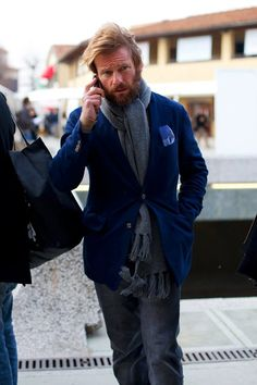 Gray scarf & blue jacket