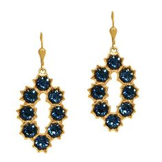 Catherine Popesco Gold Plated Montana Blue Crystal Oval Flower Petal Dangle Earrings >>> Click image for more details.(This is an Amazon affiliate link)