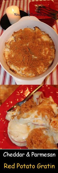 CHEDDAR AND PARMESAN RED POTATO GRATIN. This traditional recipe with some updates has been a crowd pleaser for years. Perfect make-ahead side dish to EASTER hams!
