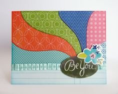 Pebbles Inc. Happy Day Card Set by Mendi Yoshikawa - Scrapbook.com - Perfect combination of colors and patterns on this stitched card.