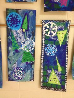 Art projects, winter art projects, school art projects, art d' Christmas Art Projects, Winter Art Projects, School Art Projects, Christmas Crafts, 4th Grade Art, Grade 3, Art Curriculum, Theme Noel, Art Lessons Elementary