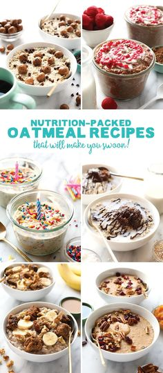 Make one of these Healthy Oatmeal Recipes for a hearty breakfast packed with whole grains and healthy carbs! They're quick to make, gluten free, and even make for a great snack, too!