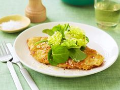 Parmesan Chicken recipe from Ina Garten via Food Network with lemon vinaigrette dressed salad Food Network Recipes, Cooking Recipes, Healthy Recipes, Cooking Corn, Dog Recipes, Delicious Recipes, Food Dishes, Main Dishes, Tasty Dishes