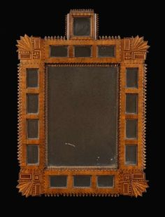 A beautiful and unusual Unusual Walnut And Boxwood Border Glass Mirror