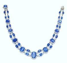Platinum & Sapphire Necklace by Van Cleef Arpels France Circa 1950