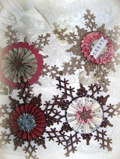 Handmade Christmas Ornament Glitter Snowflake Ornament by QueenBe