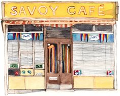 Savoy Café Graham Rd - Eleanor Crow made this set of watercolour portraits of cafes