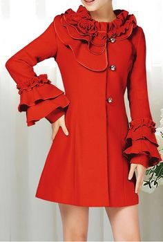 Stand Collar Flower Flouncing Embellished Waisted Long Sleeves Single-Breasted Blended Women's Coat, $45 - Love this shade of red!