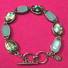 """Sale Today Only✨Cookie Lee✨Lovely Abalone Bracelet 7 1/2"""" Silver tone teal and Abalone link bracelet. Toggle closure. Free gift box included. Cookie Lee Jewelry Bracelets"""