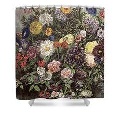 Bouquet Of Flowers Shower Curtain by Ferdinand Victor Eugene Delacroix