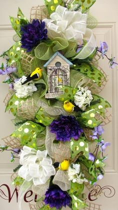 http://www.pinterest.com/calicobk/wreaths-arrangements/  Mothers Day Spring Summer Cream Green Yellow by NicoleDCreations, $139.00