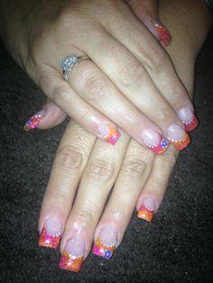 Acrylic color nail design
