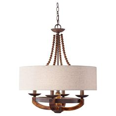 Feiss - Four Light Beige Fabric Shade Rustic Iron Burnished Wood Drum Shade Chandelier : Bright Light Design Center