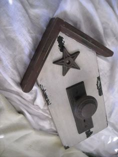 primitive country hook hanger wall decor salt box house wood  metal door knob  for sale in my store