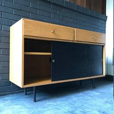 Mid Century Vintage 60s Modern Studio Craft Credenza Cabinet Perforated  Sliding Doors McCobb Style Mad