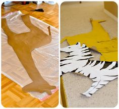 Create large Animals out of cardboard and paint them. We love large decorations. It really gets guests into the theme.