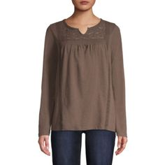 Buy St. John s Bay Long Sleeve Round Neck T-Shirt-Womens at JCPenney.com  today and Get Your Penney s Worth. Free shipping available d59961a7e
