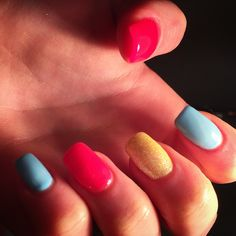 Multi coloured by me Shellac, Overlay, Acrylic Nails, Color, Beauty, Overlays, Colour, Acrylics, Acrylic Nail Art