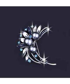 Fashion Icon Brož s krystalky, okvětními lístky a korálky
