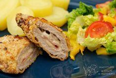 Gordon blue neboli správně cordon bleu - řízek plněný šunkou a sýrem Cordon Bleu, Sandwiches, Meat, Food, Blue, Essen, Meals, Paninis, Yemek