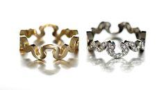 Saarikorpi Design, Puzzle III rings, 18K yellow and white gold, W/VS diamonds