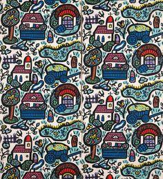 Dorf (Village) wallpaper design by Franz von Zulow, 1913. Hand-coloured paper-cut print   © MAK Museum: Exhibitions Vienna