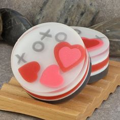 XOXO Hearts Artisan Glycerin Round Soap in Pink by AlaiynaBSoaps