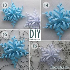 diy weihnachtsschmuck papier schneeflocken The post Diy Christmas Decorations Paper Snowflakes Diy Weihnachtsschmuck Papier Schneeflocken appeared first on Mary& Secret World. Diy Snowflake Decorations, Snowflake Centerpieces, Diy Christmas Snowflakes, 3d Paper Snowflakes, How To Make Snowflakes, Paper Christmas Decorations, Snowflake Craft, Christmas Paper Crafts, Holiday Crafts