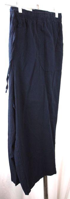 Basic Editions Navy Blue Womens Elastic Waist Relaxed Fit Capri Pants 1X NWT #BasicEditions #Capri