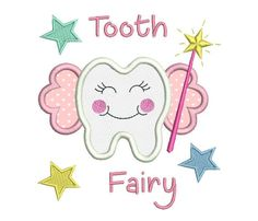 This is a tooth fairy applique machine embroidery design. 3 sizes are supplied with purchase - inch hoops. Lots of machine formats provided. Embroidery Works, Embroidery Applique, Embroidery Stitches, Tooth Pillow, Tooth Fairy Pillow, Machine Applique, Machine Embroidery Patterns, Reading Pillow, Design Girl