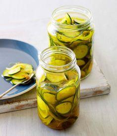 Australian Gourmet Traveller recipe for Zuni-style pickles. Homemade Pickles, Pickles Recipe, Pickled Watermelon Rind, Zucchini Pickles, Bread & Butter Pickles, Recipe Search, I Love Food, Food For Thought, Gourmet Recipes