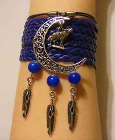 Bracelet loup bijoux loup bracelet Lune par LJsBraceletBoutique