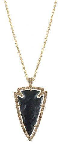 LARGE BLACK & GOLD DEMETER ARROWHEAD NECKLACE – Tat2 Designs