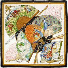 "HERMES SCARF Silk ""Brise de Charme"" by Julia Abadie 90cm Carre 100% Auth"