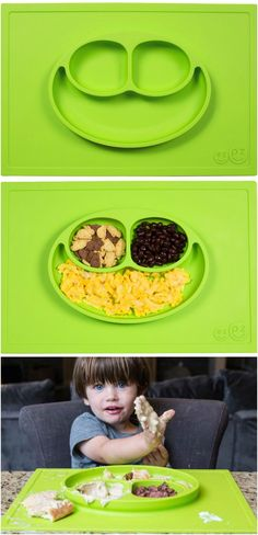 the EZPZ food mat! no plastic, sticks to any surface and dishwaster safe. Love this idea.