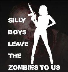 Girls Zombie Hunter Killer Vinyl Decal Sticker Silly Boys Jeep Acura Honda