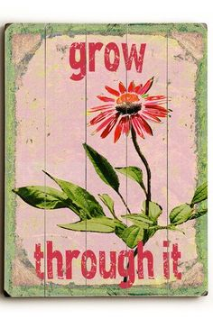 Grow Through It Pink Wood Wall Plaque by ArteHouse on @HauteLook