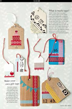 Washi tape tag ideas.