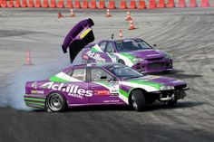 A snapshot captured at the 2012 Formula Drift Asia event in Malaysia shows an unlatched trunk go flying into the air off of this four door Nissan Skyline.