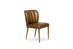 DALYAN Dining Chair, BRABBU, Fabric: synthetic leather, Legs: metal leaf with gloss varnish