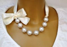 Carrie Bradshaw  Inspired Pearl Necklace In Cream by vintagebynina
