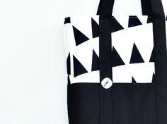 black + white tote