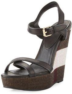 Burberry Whelan Crisscross Check Wedge Sandal, Black https://api.shopstyle.com/action/apiVisitRetailer?id=602407802&pid=uid2500-37484350-28