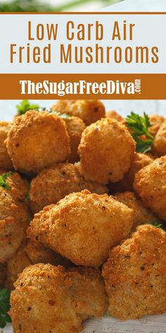 This easy and very delicious recipe for Low Carb Air Fried Mushrooms can also be made keto diet friendly or gluten free diet friendly. Air Frier Recipes, Air Fryer Oven Recipes, Air Fryer Dinner Recipes, Air Fryer Recipes Appetizers, Low Carb Chicken Recipes, Low Carb Recipes, Diet Recipes, Recipes For Lunch, Good Recipes