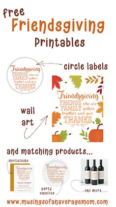 Free Friendsgiving Printables - circle labels and wall art. And you can purchase the matching products as well. Christmas Movie Trivia, Christmas Riddles, Christmas Games, Pumpkin Crafts, Fall Crafts, Holiday Crafts, Diy Projects Cans, Circle Labels, Best Blogs
