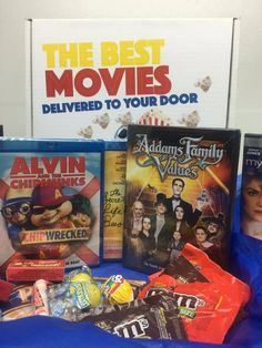 Each month you pick 2 DVD's and they arrive on your doorstep with popcorn and candy for just $8.99!