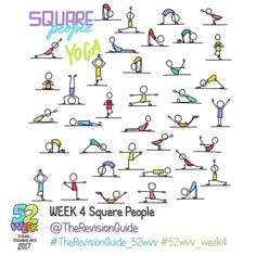 Week 4 - Square People yoga.. #TheRevisionGuide_52wvv  #52wvv_week4 . . You can join the challenge at anytime and catch up if you like. You can always add to previous weeks hashtags too, just use the relevant week's tag. . . . ******** . . Join in if you would like to improve your visual vocabulary and doodles for visual notes, graphic recording, graphic fascilitation or just because 😊😊 . . . . Here's how it would work: Throughout the week, use the theme for the week to post your own set…